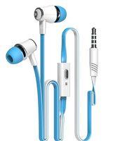 Wholesale Microphone Cable Headphone Jack - JM 21 earphone Super bass earphone earburds 3.5mm Jack Stereo Headphone 1.2m Flat Cable with Microphone for samsung huawei iphone smartphone