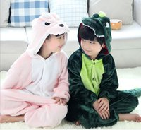 organic loungewear - Hot Autumn Winter Kids Long Sleeve Flannel Fleece Dinosaur Pajamas Cartoon Tracksuit Girls Boys Cosplay Costume Kigurumi Children Loungewear