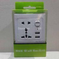 Wholesale Socket Outlet Converter - 20 pieces Universal USB Wall Socket AC 110-250V US UK EU AU Wall Socket 2 Port 5.0V USB Outlet Power Charger