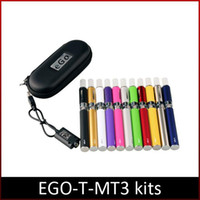 Wholesale Ego Starter Kit Double Pack - E-Cigarette EGO MT3 Starter kit E-cig Kits EGO-T kit Double cigarettes Zipper Case Pack Various Colors 650 900 1100mah ego kits DHL