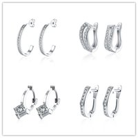 Wholesale Cheap Fashion Hoop Earrings - Mixed style plated platinum hoop earrings with CZ diamond fashion charm charm woman top quality free shipping 12piece Cheap wholesale