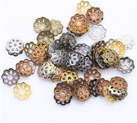 Wholesale Metal Flower For Jewelry Making - Filigree Metal Flower Patterned End Tips Bottom Bead Caps Jewelry Findings for DIY Jewelry Making Bracelets