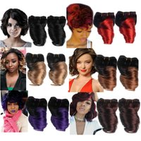 Wholesale Spring Curls - 2 Bundles 8 Inch Brazilian Fumi Spring Curl Human Hair Weave Ombre Short Big Loosewave 100% Human Hair Extension 50g pc Sale