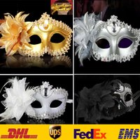 Wholesale Eye Mask Carnival - 4 Color Lace Flower Venetian Halloween Masquerade Ball Carnival Eye Masks Party Makeup Costume Princess Masks Gifts HH-M03