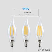 Wholesale dimmable candle led e26 - E12 E14 E27 Dimmable 2W 4W 6W Vintage LED Filament Candle Bulbs 2700K 110V 220V C35 Bullet Top C35T Bent Tip Warm White Led Light Bulb CE UL