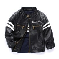 Wholesale Wholesale Embroidered Jackets - Cool New boys kids coat Quality PU leather jackets Striped Copper zipper embroider handsome children Autumn Spring jacket 3 4 5 6 7 8 years