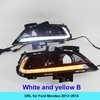 Wholesale Daytime Running Lights Led Mondeo - 2pcs white CAR 12V LED DRL Super bright daylight cree bar fog lamp External Daytime Running Lights Kit for FORD MONDEO 2013~2014