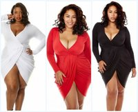 Wholesale Ladies Hot Red Night Dress - 2016 New Arrival Hot Sale Long Sleeve Deep v neck Casual Lady Dresses Plus Size Sexy Women Slim Package Hip Dresses XL-3XL KF8166