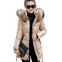 Wholesale Hood Hair Styles - 2017 winter new style of long cotton padded jacket, lady's hood, big hair collar, down cotton jacket plus size 3XL