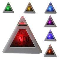 Wholesale Digital Led Pyramid - Alarm Clock 7 LED Color Change Growing LED Pyramid Digital Alarm Clock with Calendar Thermometer Desk Clock Table Desktop Clocks