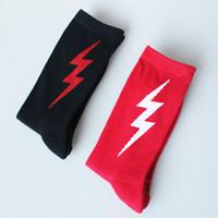 Wholesale Sweat Socks Men - 2017 new Casual lightning letter Harajuku Men&Women Cotton Skateboard Socks cottonn sweat breathable socks free shipping
