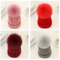 Wholesale Real Fur Head - Fashion Fox Fur Ball Baby Hat Winter Tight Knitted Fur Hat Toldder Girls Cap Headgear Headdress Head Warmer with 8 Colors