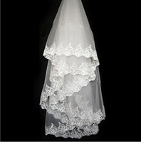 Wholesale pearl metal - 2018 Free Shipping Lace Sequin Pearl Beaded Wedding Veil One layer Elbow Length Metal Comb