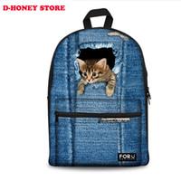 Wholesale Cute Denim Bags - 3D print cute cat women canvas backpack for teenage girls zoo animal school backpacks for student casual laptop denim bule bags