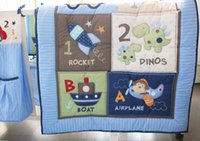 Wholesale Boy Bedding Crib Sets - Boy Baby Bedding Set Cotton 3D Embroidery Dinosaur Rockets Submarine Car Quilt Bumper Bedskirt Fitted 7 Pieces Set Blue