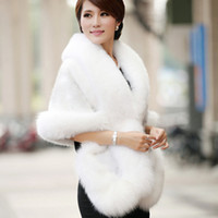 Sleeveless outerwear fur - 2016 Winter Wedding Coat Bridal Faux Fur Wraps Warm shawls Outerwear Black Burgundy White Korean Style Women Jacket Prom Evening Party
