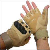 askeri taktik eldiven yarım parmak toptan satış-Açık Bisiklet Yarım Parmak Eldiven Askeri Taktik Yarım Parmak Eldiven Nefes Kayma Spor Tırtıklı Yarı Parmak Eldiven Kum Rengi