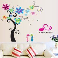 spring tree wall decal - Novelty Flower Tree Wall Stickers I Love Spring Wall Decals Art for Kids Girls Living Room Bedroom Home Decorations WS552
