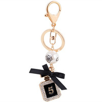 Wholesale Keychain Rings Black - New Brand Perfume Bottle Luxury Keychain Key Chain & Key Ring Holder Keyring Porte Clef Gift Men Women Souvenirs Car Bag Pendant