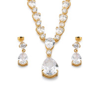 Wholesale Teardrop Crystal Bridal Set - Present for Women 18k Yellow Gold Plated Bridal Jewelry Set Teardrop Cubic Zirconia CZ Pendant Necklace and Drop Earring AAA+