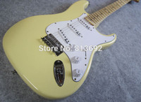 Wholesale Electric Guitar Yellow - Scalloped Fingerboard, Dimarzio Pickups, Yngwie Malmsteen Signature stratocaster Vintage yellow cream Guitar, Big Head Electric Guitar
