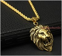 Wholesale Celtic Lion Pendant - Cool 18K Gold Plated 316L Stainless Steel Men's Lion Head Pendant Necklace Free Rope Chain 24""