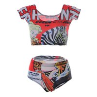 Wholesale Swimwear Woman Zebra - Animal 3D Print Swimwear Women Stretch Two Piece Swimming Suit Mid Waist Beachwear Sexy Breathable Fashion Beach Sets Zebra Red LNHst