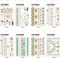 hint vücut çıkartmaları toptan satış-Vücut sanatı Boyama Dövme çıkartmaları glitter Metal Altın Gümüş Geçici flaş dövme Tek Kullanımlık hintliler dövmeler dövme etiket
