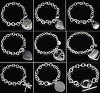 pulseiras de libélulas venda por atacado-30% 925 Sterling Silver Bracelet Fit Coração Oco Duplo Coração Libélula Pingente Charme Bangle Jóias de Alta Qualidade Mulheres Pulseiras de Presente