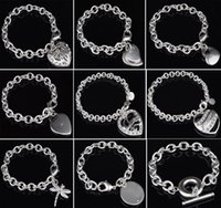Wholesale high quality 925 sterling silver bangle resale online - 30 Sterling Silver Bracelet Fit Hollow Heart Double Heart Dragonfly Pendant Charm Bangle High Quality Jewelry Women Bracelets Gift