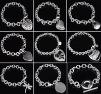 Wholesale Hollow Fish Hook - 30% 925 Sterling Silver Bracelet Fit Hollow Heart Double Heart Dragonfly Pendant Charm Bangle High Quality Jewelry Women Bracelets Gift