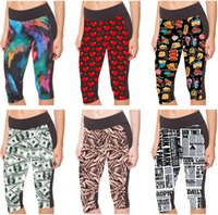 Mode Sports Capri Pantalons Sexy Short Legging Femmes Yoga Jogging Cropped Trousers English Newspaper Tubes mécaniques Burning Flame LN7Slgs