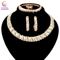 Wholesale Earrings Direct Selling - 201618K gold Jewelry sets Boho crystal women necklace for party Direct Selling wedding Trendy statement necklace with earrings