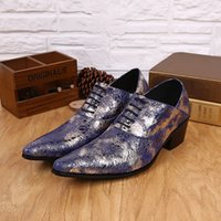 Estilo Moda Tide Shine Blue Pointed Toe sapatos de couro genuíno para homens Lace-Up Oxfords Sapatos de casamento Homem Party Dress Shoes Casual Bola