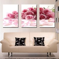 Wholesale Traditional Oil Paintings For Sale - Three Panle Modern Wall Painting Pink Rose Canvas Wall Art Picture Home Decor Beautiful Flowers Create Romantic for Bedroom Hot Sale