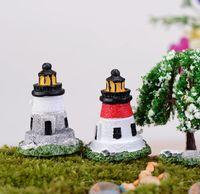herramientas de casa de muñecas al por mayor-6 unids faro de múltiples ventanas Figuritas de Terrarios Decoración de Jardín de Hadas Miniaturas Bonsai Herramientas Micro Paisaje Casa de Muñecas Ornamento