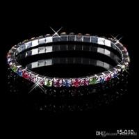 Wholesale prom bracelets - 2017 Cheap 15010 Elastic1 Row Multi-stone Crystal Bangle Bridal Bracelets Wedding Party Evening Prom Jewelry Bridal Accessories Free Ship