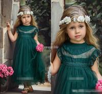 Wholesale Modelling Babies Dress - Dark Green Tea Length Flower Girls Dresses for Boho Vintage Wedding Sheer Neck Cap Sleeve Tulle 2017 Custom Baby Child First Communion Dress