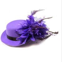flor mini chapéu alto venda por atacado-Brand new mulheres noiva fascinator mini top hat cap fita de casamento gaze de renda pena flor chapéus partido grampos de cabelo tampas millinery cabelo jóias
