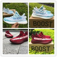 Wholesale Drop Ship Camping - Drop Shipping High quality 2017 SPLY-350 Boost V2 New Kanye West Boost 350 V2 SPLY Running Shoes Grey Orange Stripes blue Red size 36-46