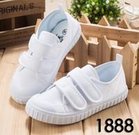 Wholesale Girls Shoes 33 - Children's White cloth shoes students canvas shoes boy girls kindergarten dance movement shoes size 22-33