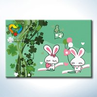 Wholesale Diy Painting Kids - White Rabbit DIY Painting Baby Toys Digital 20x30cm Coloring Canvas Oil Painting Kids Drawing Toys Set for Hotel Decoration with Metal Hooks