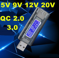 Wholesale usb detector voltage current meter tester - 10PCS Portable digital LCD Mini USB Voltage Current meter Tester 5V~20V QC 2.0 3.0 volt Charger Capacity Detector Power Text