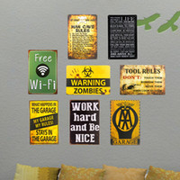 Atacado- T-Ray Tin signs Minha garagem WIFI Warning Man cave Medal Decor Wall Art Gas Oil Garage Shop Bar
