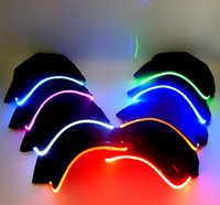Wholesale Quality Led Lights Sale - High Quality party hats hot sale 7 colors LED Light Hat Glow Hat Black Fabric For Adult Baseball Caps Luminous Selection Free DHLShipping