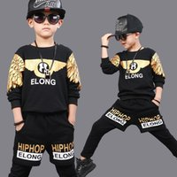 Wholesale Kids Ballroom Dance Costumes - KIds Children Ballroom Print Modern Ballroom Jazz Hip Hop Dancewear Boys Dance Costumes Harem Outfits Clothing Top&Shorts
