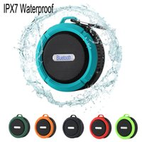Wholesale Mini Speaker Ipad Pc - C6 IPX7 Outdoor Sports Shower Portable Waterproof Wireless Bluetooth Speaker Suction Cup Handsfree MIC Voice Box For S6 S7 iPhone 6 iPad PC