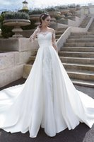 Wholesale Custom Made Cathedral Wedding Dress - Wedding Dresses 2016 Crystal Design with Illusion Long Sleeves and Sheer Back Appliques Satin A Line Cathedral Bridal Gowns Custom Made