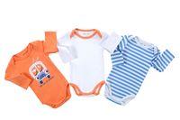 Wholesale Wholesale Baby Clothing Online - Fashion Bebe Plain Jumpsuits 3 pieces Lot Cartoon Printed Infant Bodysuit Long Sleeve Newborn Baby Clothes Online 0-12 Months