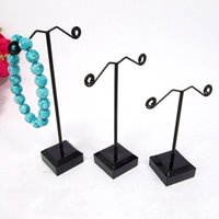 Wholesale Necklace Stand Black Set - 2016 3pcs set New Black Acrylic Earrings Necklace Jewelry Display Metal Stand Rack Holder For Tassel Dangle Earrings
